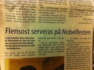Den klassiska notisen från när  ost från Flen serverades på Nobelfesten. Flensost!