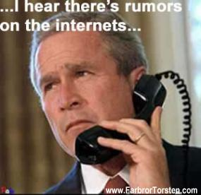 George W Bush och en telefon. Politiskt elakt skämt.