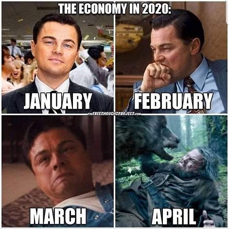 Pandemiskämt med Leonardo DiCaprio. Ekonomin blev allt sämre under början av 2020.