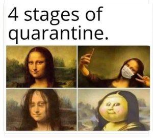Rolig pandembild på Mona Lisa i karantän.